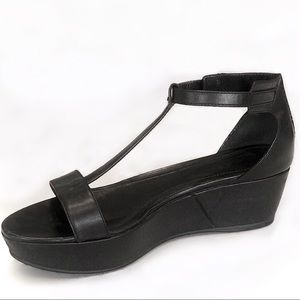 Tod's Black Leather T-Strap Wedge Platforms